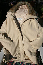 """""""Next """"Padded Cream beautiful ladies Jacket with Faux Fur detail on Hood"""