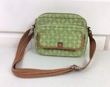FOSSIL Green Floral Crossbody Purse Shoulder Bag Leather Trim