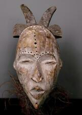 Old Tribal Idoma Mask With Raffia and Horns     --  Nigeria