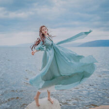 Womens Fairy Medieval Maxi Long Dress High Waist Prom Gown Victorian Retro Blue