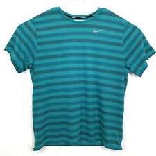 Nike Running Mens XXL T Shirt Teal Turquoise Striped Media Pocket Breathable