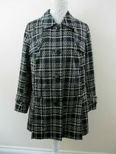 Marks & Spencer Taille 16 manteau noir avec crème cassée Carreaux Stretch A-lign...