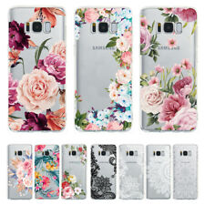 For Samsung S9 S8 Plus Note 9 A6 Floral Print Pattern Soft Clear TPU Case Cover