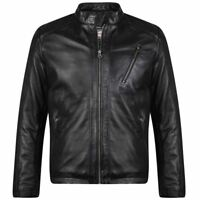 KAM Mens Leather Biker Jacket (L001) in Black