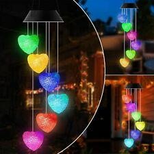 Solar Heart Wind Chimes Led Color-Changing Outdoor Garden Yard Path Decor Light