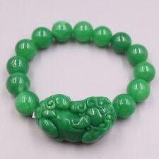 "New Chinese Green Jade Bracelet 12mmW Round Beads with Pixiu Bracelet 6.7""L"