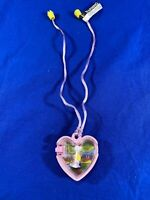 POLLY POCKET SWINGING DOLL HEART LOCKET PINK NECKLACE 1994 By Bluebird