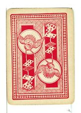 """Single Vintage Old Wide Playing Card, Reversible """"Bird with Cards"""" Red"""