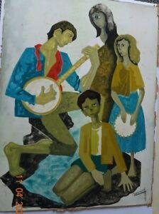PHILIPPe BONAMY - ECOLE DE PARIS - JEUNE PEINTURE - GOUACHE  LES MUSICIENS 1950