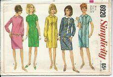 S 6920 sewing pattern 60's slim shift DRESS PeterPan collar sew Retro size 14/34