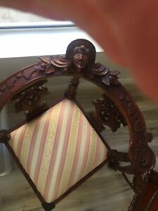 Antique Gothic Revival Corner Chair Winged Maiden