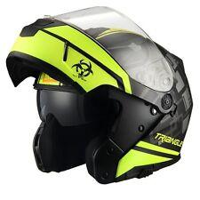 Triangle Motorcycle Helmet Modular Dual Visor Flip Up [ DOT ] Yellow - Large