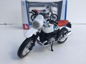 BURAGO 51069 1:18 BMW R NINE T URBAN GS WHITE RED BLUE TOY MODEL MOTORBIKE