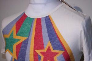 Pretty Green Bib Star Neck T-Shirt - XS/S - Cream/Multi - BNWT - Mod Casuals Top