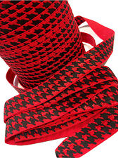 "3 yards red houndstooth printed 5/8"" fold over elastic FOE"