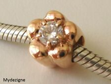 GENUINE  SERENITY  9ct  9K SOLID ROSE  GOLD  CHARM  CZ  DAISY  BEAD