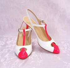 LORIBLU 3120b White / Pink Patent Leather Slingback T-Strap Sandals 37 / US 7