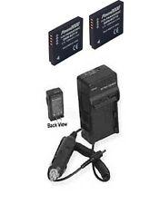 2 Batteries + Charger for Panasonic DMC-FS33R DMC-FS33S DMCFS42 DMC-FS42