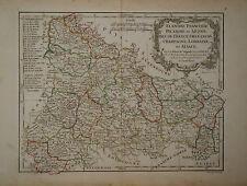 c1780 Genuine Antique hand colored map Northernmost France, Artois. De Vaugondy