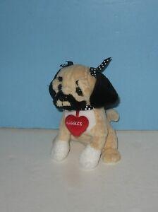 """6"""" Ganz """"Huggles"""" Pug Puppy Dog Red Heart Collar Bean Plush Stuffed Animal"""