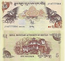 Bhutan P28, 5 Ngultrum, Dragons,Palace (the tiger's nest) / mythical bird - 2011