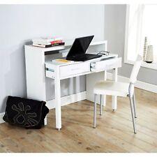 REGIS EXTENDING CONSOLE TABLE COMPUTER TABLE STUDY DESK RETRACTABLE SHELF WHITE