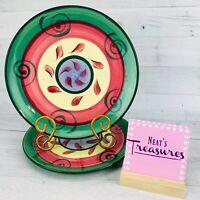 Gail Pittman STREET PARTY Stoneware Green Scrolls Colorful Dinner Plates Set 2