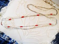 Chain Necklace W/Red Beads 3-Strand Thin Flat Interlocking