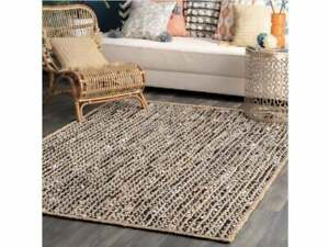 Rug runner natural jute and cotton braided style rustic look area carpet rag rug