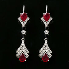 Solid 14K White Gold 1.72TCW Natural Burma Ruby Diamond Lever Back Drop Earrings