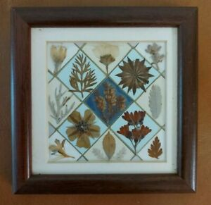 Handmade Prrssed Flower Small Mosaic Wall Hanging Picture 12cm x 12cm
