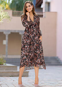 LADIES TOGETHER FLORAL BUTTON THROUGH MIDI DRESS UK SZ 16 New with Defect