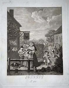 1780 c. Rare FOLIO Hogarth engraving SUPURB IN LONDON Riepenhausen
