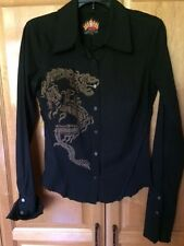 Love Junkie Long Sleeve Tailored Black Shirt Dragon Graphic Size M NWOT