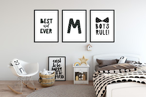 Set of 3 Boys Bedroom Prints / Personalised Letter / Black & White Kids Wall Art