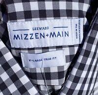 Mizzen + Main Black White Gingham Check Button Front Mens Shirt X-Large Trim Fit