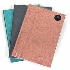 A5 Glitter Lined Hardback Notepad Notebook Note Book Notes Journal Diary Colours