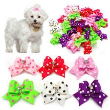 20/100pcs Cute Dots Dog Hair Bows with Rubber Band Pet Cat Accessories Bows Bulk