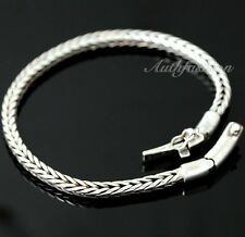 Mens Sterling Silver Bracelet Handcrafted Solid Woven Wheat Chain Hip Hop b18