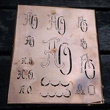 """Monogramm """" AO """" Wäschemonogramm Wäscheschablone Wäschezeichen 11/13 cm KUPFER"""