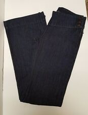James Jeans Mike Amaretto Dark Wash Denim Blue Jeans Cotton Linen Side Zip Sz 25