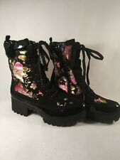 Rouge Ladies Suede Patent Leather Boots Size 10