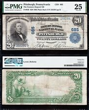 NICE Bold & Crisp VF 1902 $20 PITTSBURGH, PA National Banknote! PMG 25! 256284