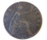 1899 One Penny Victoria Britain  very Good