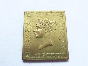 Postage One Penny Victoria Franklin Mint 1971 London Brass? Stamp (myrefn46B)