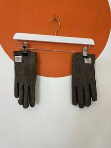 Men's Unisex Harris Tweed 100% Wool & 100% Leather Tweed Gloves Green S/M