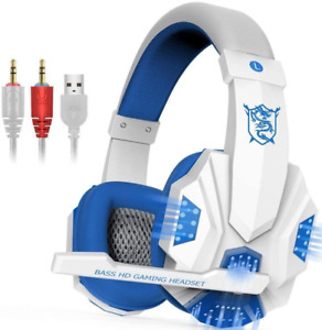Stereo PC Bass HD Gaming Headset 3.5mm Headphones Stereo Bass Surround with LED