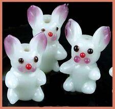 Lampwork Handmade Glass Bunny Rabbit Beads 25x13mm (6)