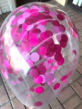 CONFETTI BALLOONS CLEAR - PACK OF 3 Berry Mix -  Plum Magenta and Pink