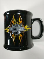 Harley-Davidson Embossed Logo Black & Orange Ceramic Coffee Mug Cup
